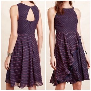 Anthropologie Navy Blue Polka Dot Dress